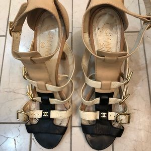 Chanel Ankle Strap Leather Sandals